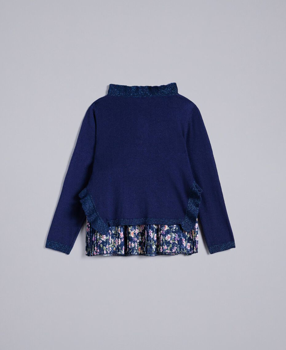 Jumper with ruches and pleated top Bicolour Blackout Blue / Micro Flower Child FA83B2-0S