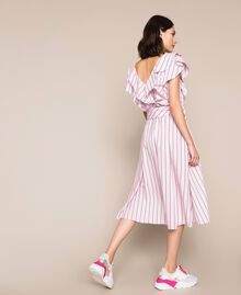"Striped poplin midi dress ""Candy"" Pink Baton Stripe Jacquard Woman 201ST202J-03"