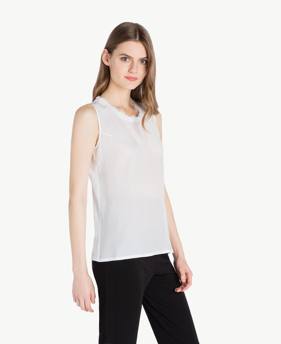 Top soie Blanc Femme PS82HC-02