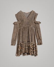 Animal print georgette dress Mixed Animal Print Woman 191TP2722-0S