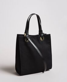 Small canvas shopping bag with logo Black Woman 191TA7611-03