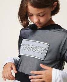 Long sleeve T-shirt and tulle top Bicolour Off White / Black Child 202GJ2730-04