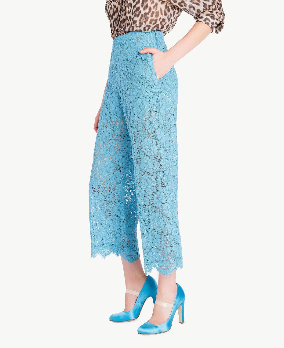 Hose aus Spitze in Croppedlänge Orientblau Frau PS82XC-02