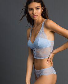 Lace and tulle padded bodice Powder Blue Woman 192LL6C11-01