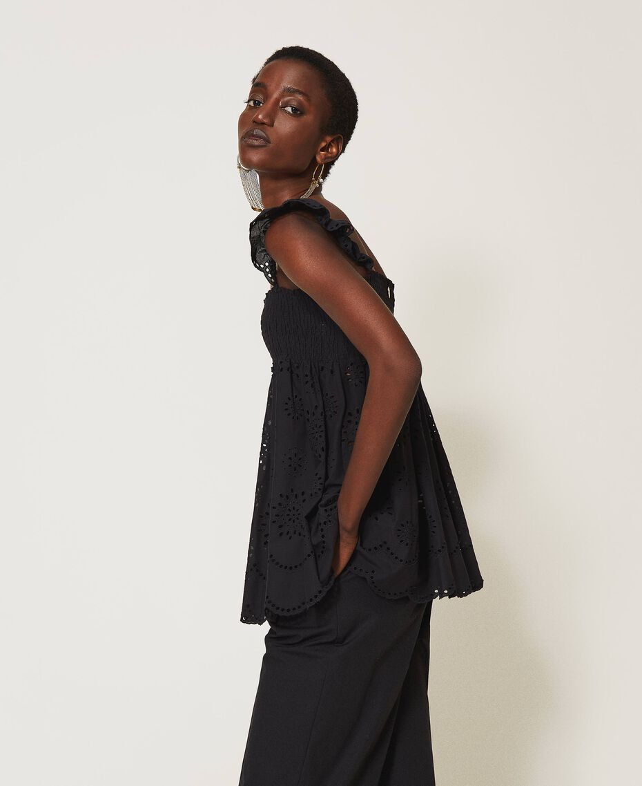Muslin top with broderie anglaise embroidery Black Woman 211TT2593-01