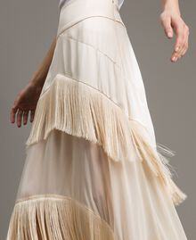 """Long satin skirt with flounces and fringes """"Milkway"""" Beige Woman 191LM2BCC-04"""