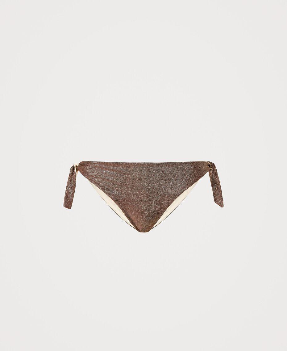 "Bikinitanga aus Lurex mit Schleifen ""Moka Lurex""-Braun Frau 211LMML88-0S"