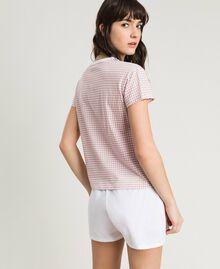 "Kurzer Pyjama mit Vichyprint ""Pink Bouquet"" Pink Frau 191LL2ECC-03"