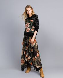 Длинная юбка из шифона с набивным цветочным рисунком Набивной Черный Крупный Тюльпан женщина TA825V-01