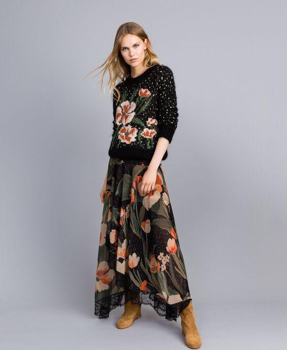 Длинная юбка из шифона с набивным цветочным рисунком
