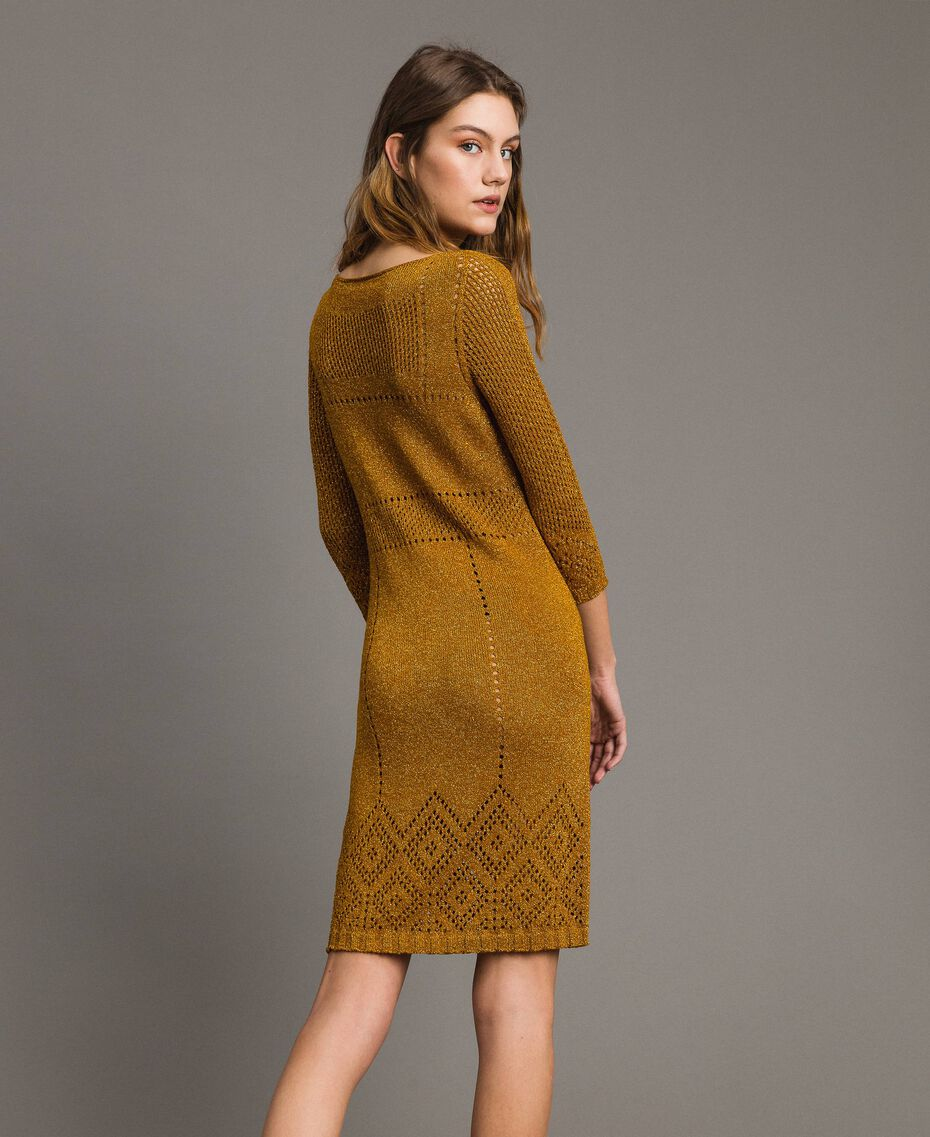 "Openwork lurex dress ""Golden Oak"" Gold Lurex Woman 191TT3111-03"