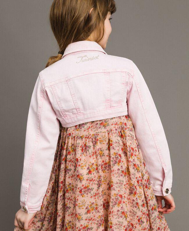 "Bull délavé cropped jacket ""Crystal Pink"" Child 191GJ2492-03"
