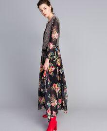 Robe longue en crêpe georgette avec imprimé floral Imprimé Fleur Patch Femme PA82MC-01
