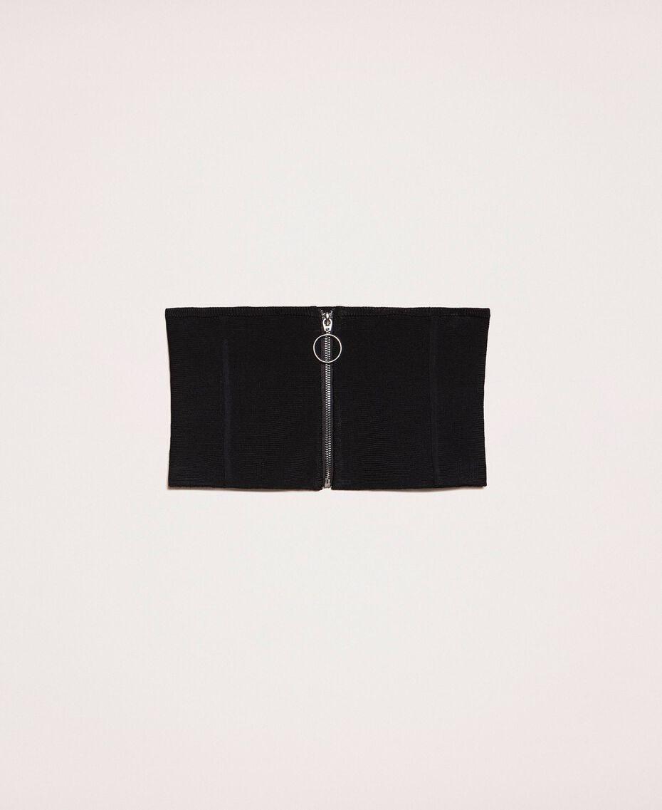 Mieder aus Stretchgestrick mit Reißverschluss Schwarz Frau 201MA4354-01