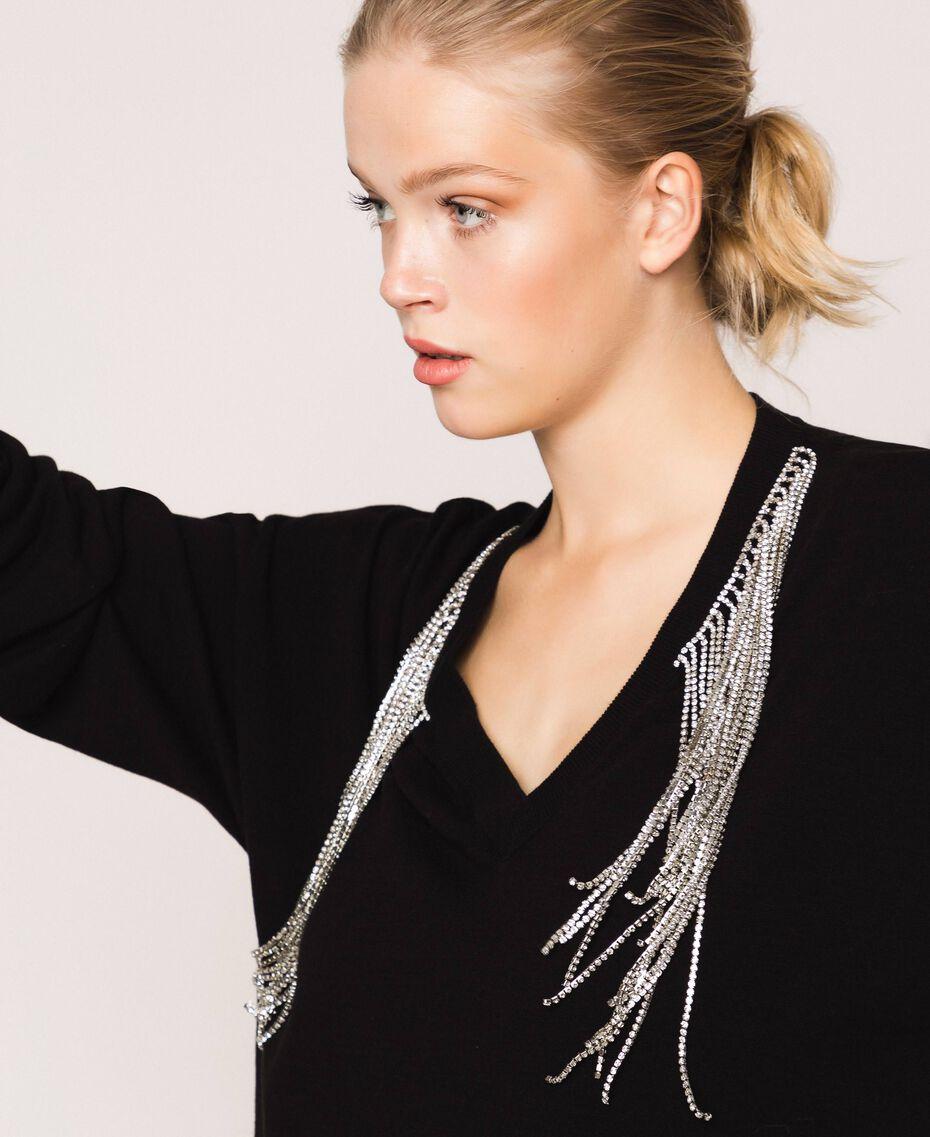 Robe décorée de franges en strass Noir Femme 201TP3080-02