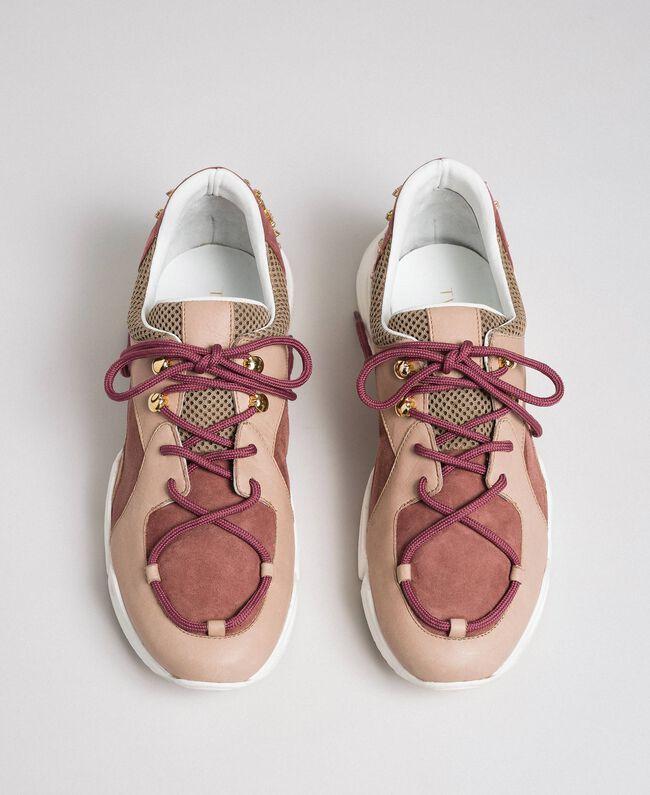 Chaussures de running en cuir avec strass Rose «Rose Nude» Femme 192TCT112-05
