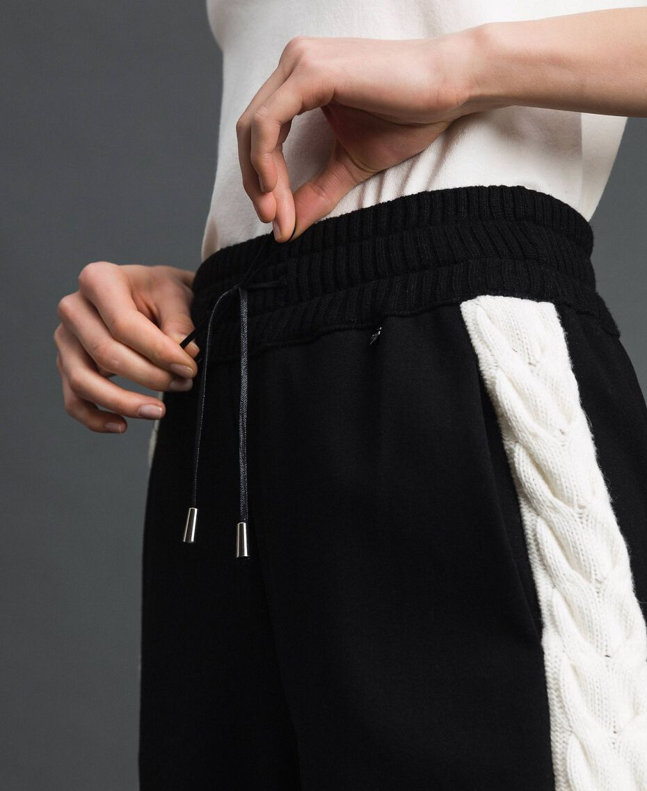 "Jogging trousers with knit inlay Bicolour Black / ""Snow"" White Woman 192TP2124-05"