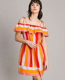 Multicolour striped poplin dress Multicolour Grenadine Print Woman 191TT2412-01