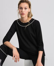 Blouse avec broderie de perles Noir Femme 192TP2080-02