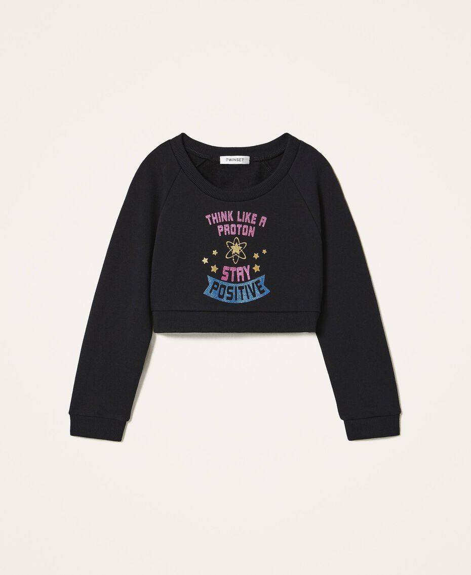 Cropped sweatshirt with print Black Child 202GJ2811-0S