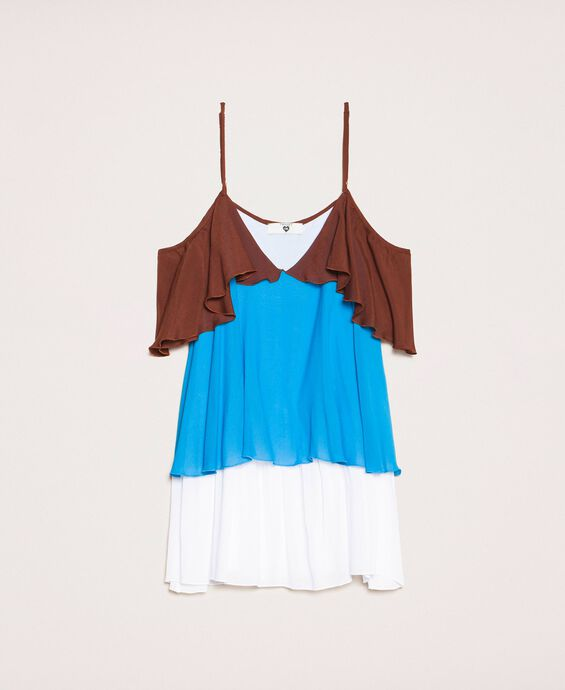 Colour block georgette top with flounces