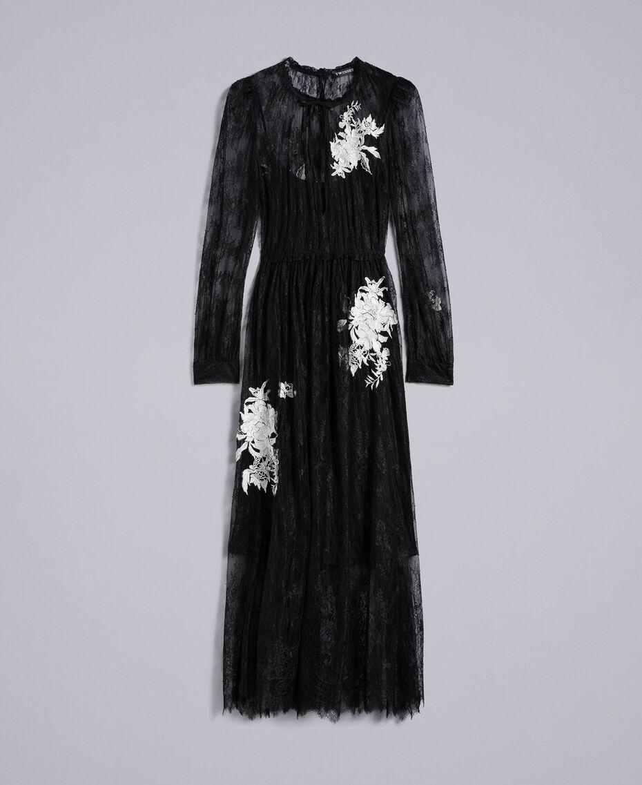 Long Valencienne lace dress Black Woman PA824Q-0S