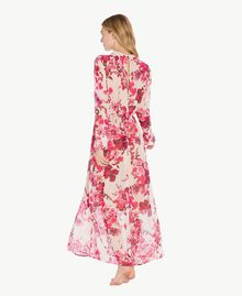 "Printed long dress ""Love Bites"" Fuchsia Flowers Print IA7KLL-04"