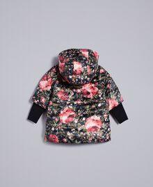 """Steppjacke aus bedrucktem Nylon Print """"Rosen"""" / Schwarz Kind FA82AR-0S"""