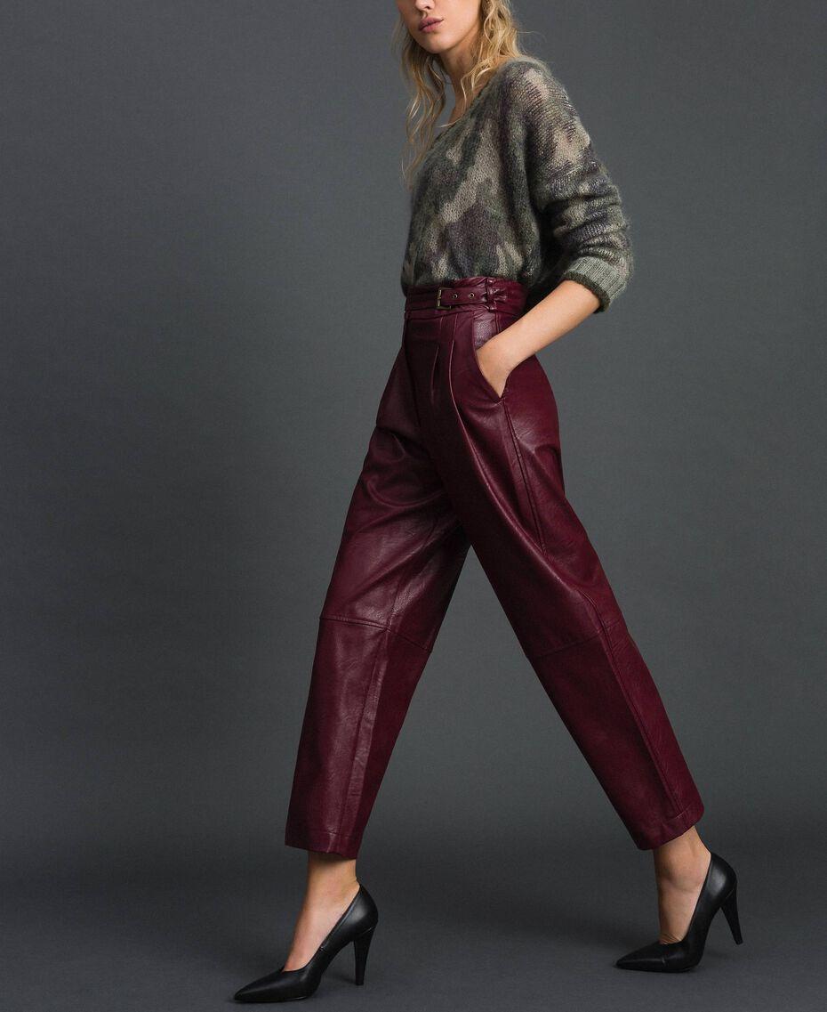 Широкие брюки из искусственной кожи Красный Бархат женщина 192TT203C-01