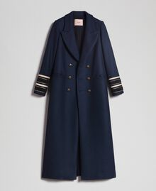 Double breasted wool cloth long coat Midnight Blue Woman 192TT2160-0S