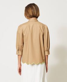 """Poplin shirt with high-vis embroideries """"Biscuit"""" Brown Woman 211MT2093-04"""
