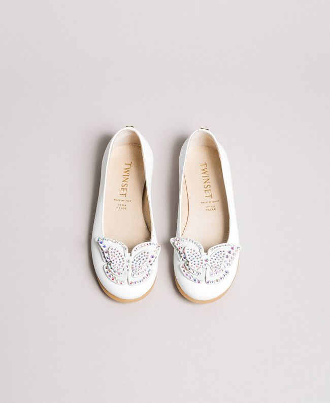 Leather ballerina shoes with butterfly White Child 191GCJ134-04