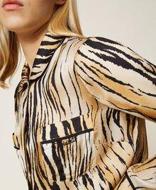 "Satinhemd mit Animalprint Print ""Tiger"" Frau 212LL2ELL-01"