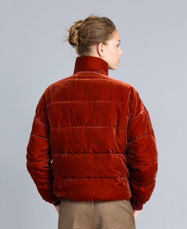 Short velvet padded jacket Reddish Brown Woman TA82BA-04