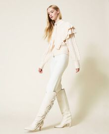 Leather high boots with fringes White Snow Woman 212TCP10G-0S