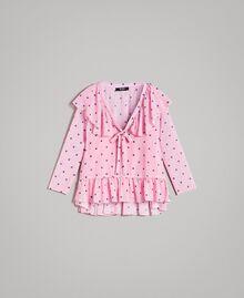 Блуза из жоржета с принтом Принт В Гортензиево-Розовые Сердечки И Горошек женщина 191MP2381-0S