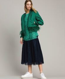 Tulle and lace mid-length skirt Blue Shadow Woman 191ST2072-0T