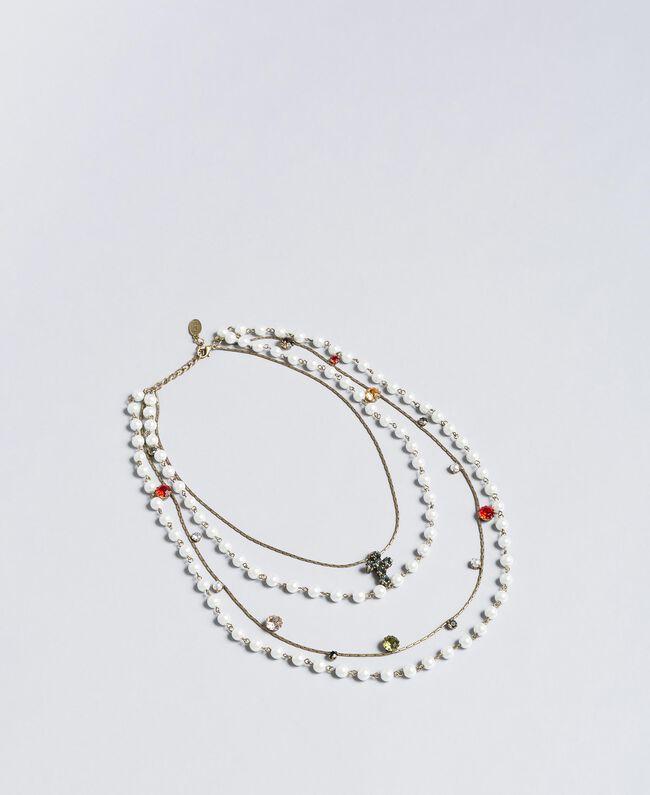 Mehrgliedrige Halskette mit Perlen und Edelsteinen Altmessing Frau QA8TLP-01