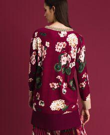 Maxi pull imprimé avec broderie Imprimé Rouge Betterave Géranium Femme 192TP3366-03