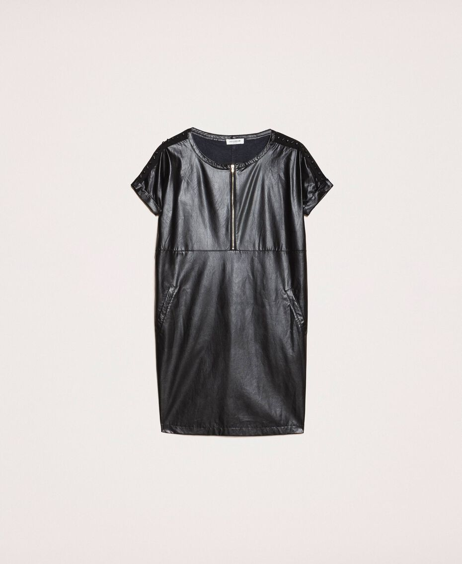 Faux leather dress with embroidery Black Woman 201ST2111-0S