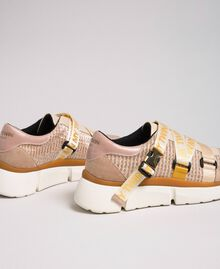 """Faux leather and mesh running shoes """"Pale Pink"""" Woman 192MCT130-03"""