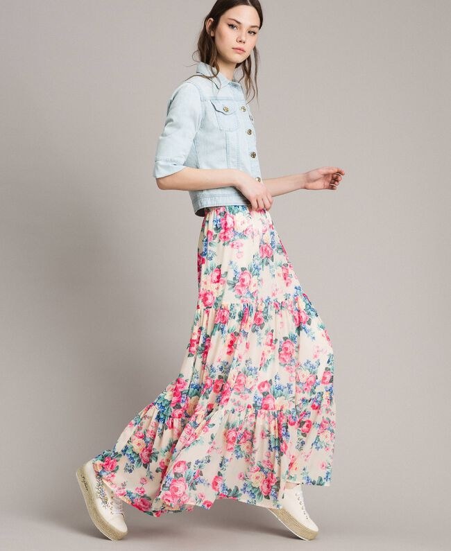 Printed georgette skirt with flounces Cloth White Flowers Print Woman 191MP2337-01