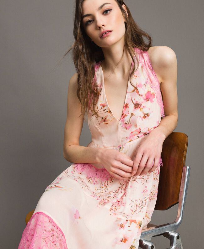 "Floral georgette long dress ""Blossom / Peach Mix"" Pink Print Woman 191TP2713-04"