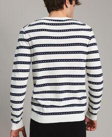 "Crêpe cotton striped jumper Two-tone Opaque White / ""Blackout"" Blue Man 191UT3031-03"