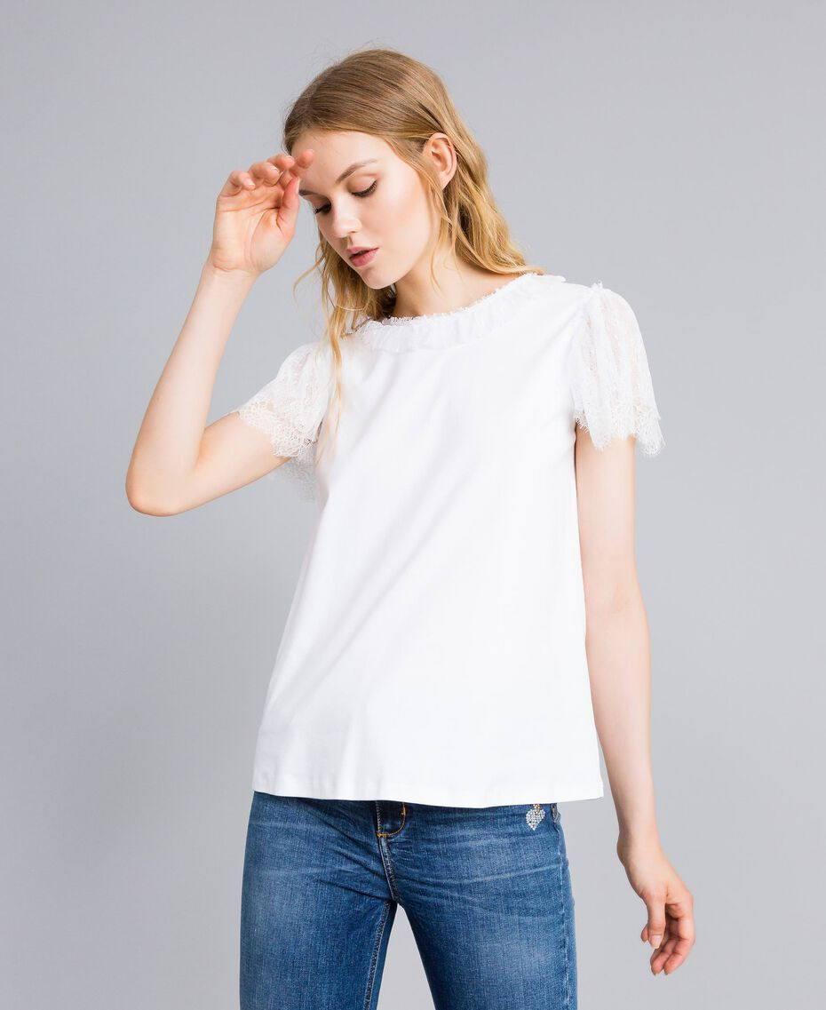 Cotton and lace t-shirt White Woman TA8281-02