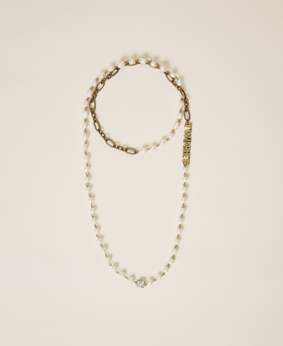 Long chain with pearls and logo Parchment White Woman 202TO5048-01