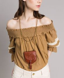 Leather coin purse necklace Leather Brown Woman 191TO5345-0S