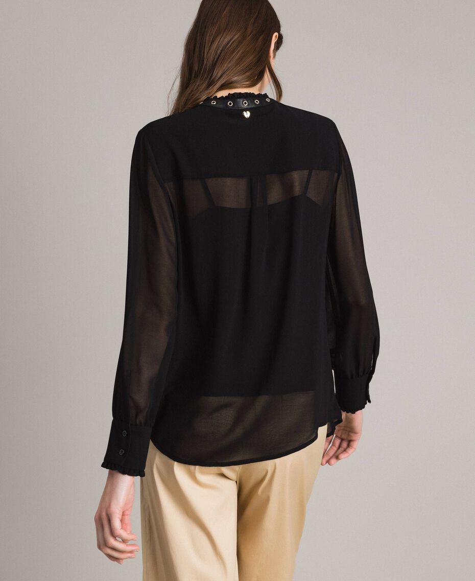 Рубашка из жоржета с рюшами Черный женщина 191MP2393-03
