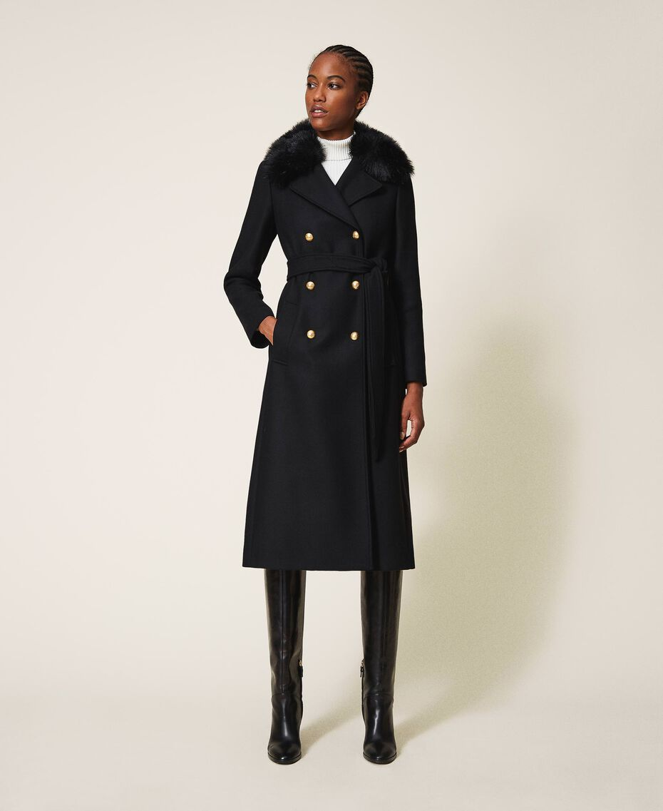 Manteau en drap de cachemire mélangé Noir Femme 202TT214A-01