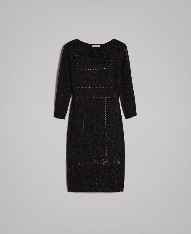 Openwork lurex dress Black Woman 191TT3111-0S